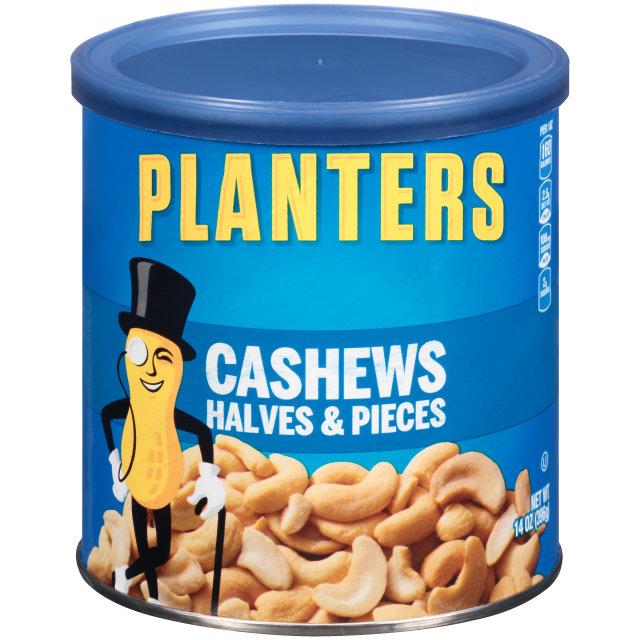 PLANTERS® Halves & Pieces Cashews 14 oz can