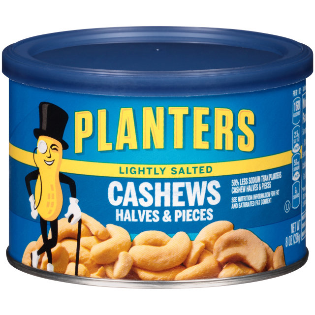 PLANTERS® Lightly Salted Halves & Pieces Cashews 8 oz can