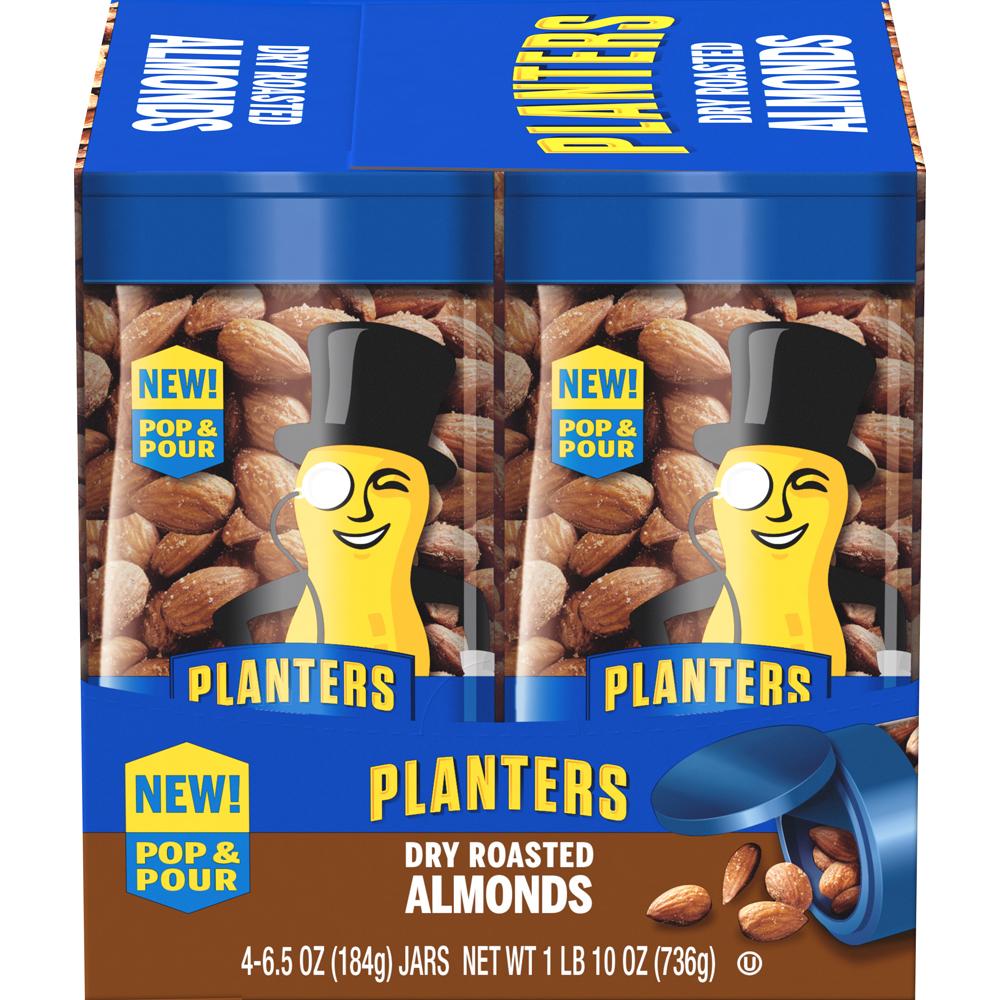 PLANTERS® Pop & Pour Dry Roasted Almonds 4 – 6.5 oz jars