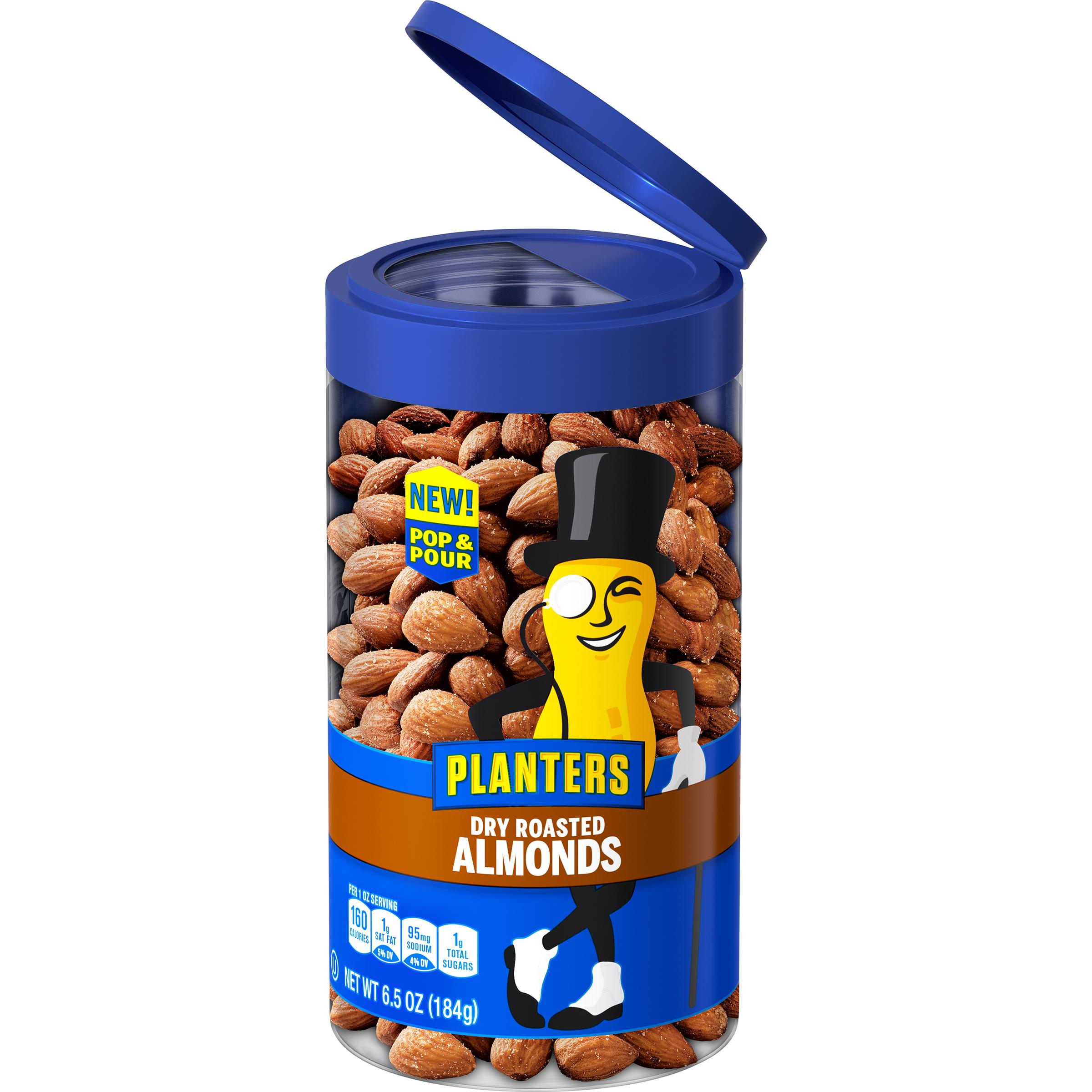 PLANTERS® Pop & Pour Dry Roasted Almonds, 6.5 oz jar