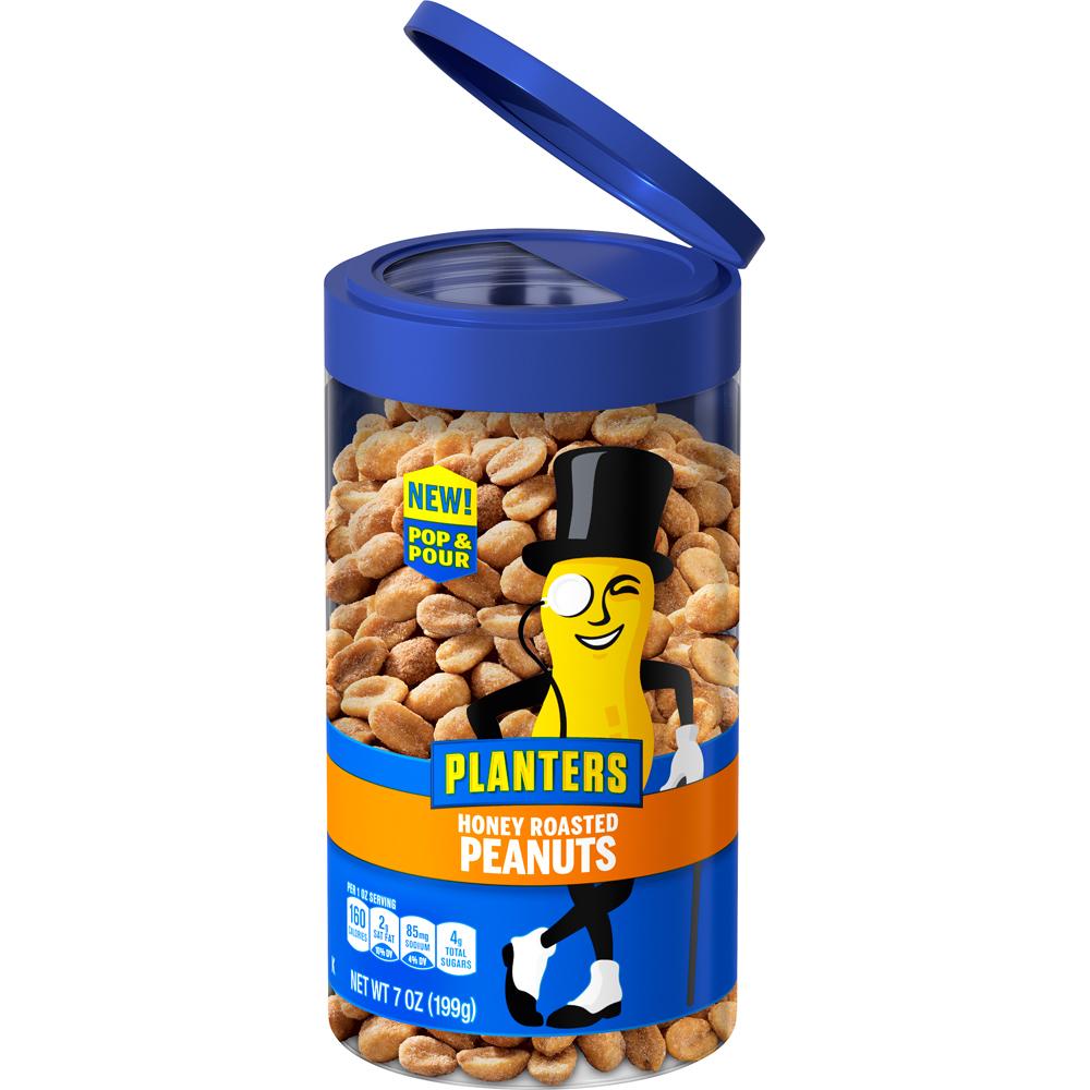 PLANTERS® Pop & Pour Honey Roasted Peanuts 7 oz jar