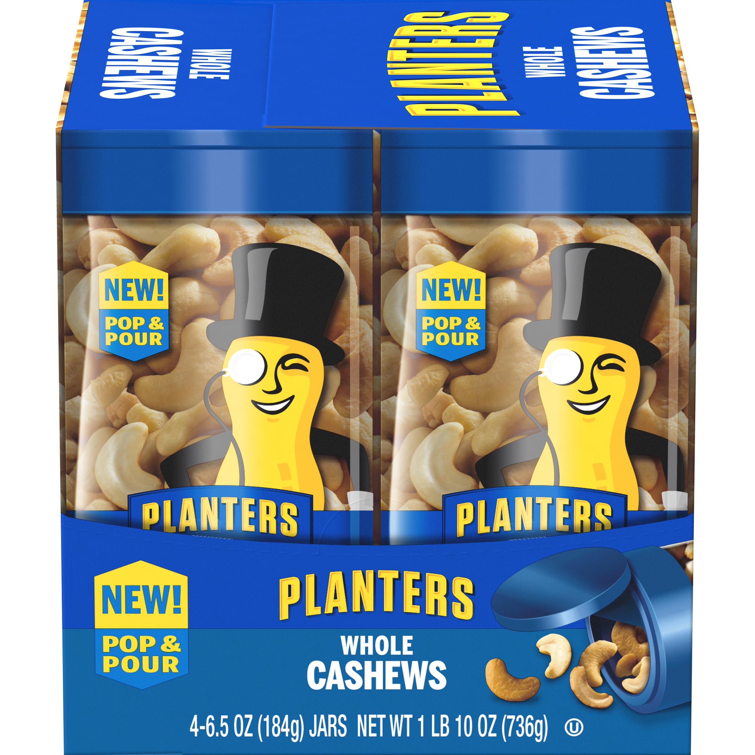 PLANTERS® Pop & Pour Whole Cashews 4 – 6.5 oz jars