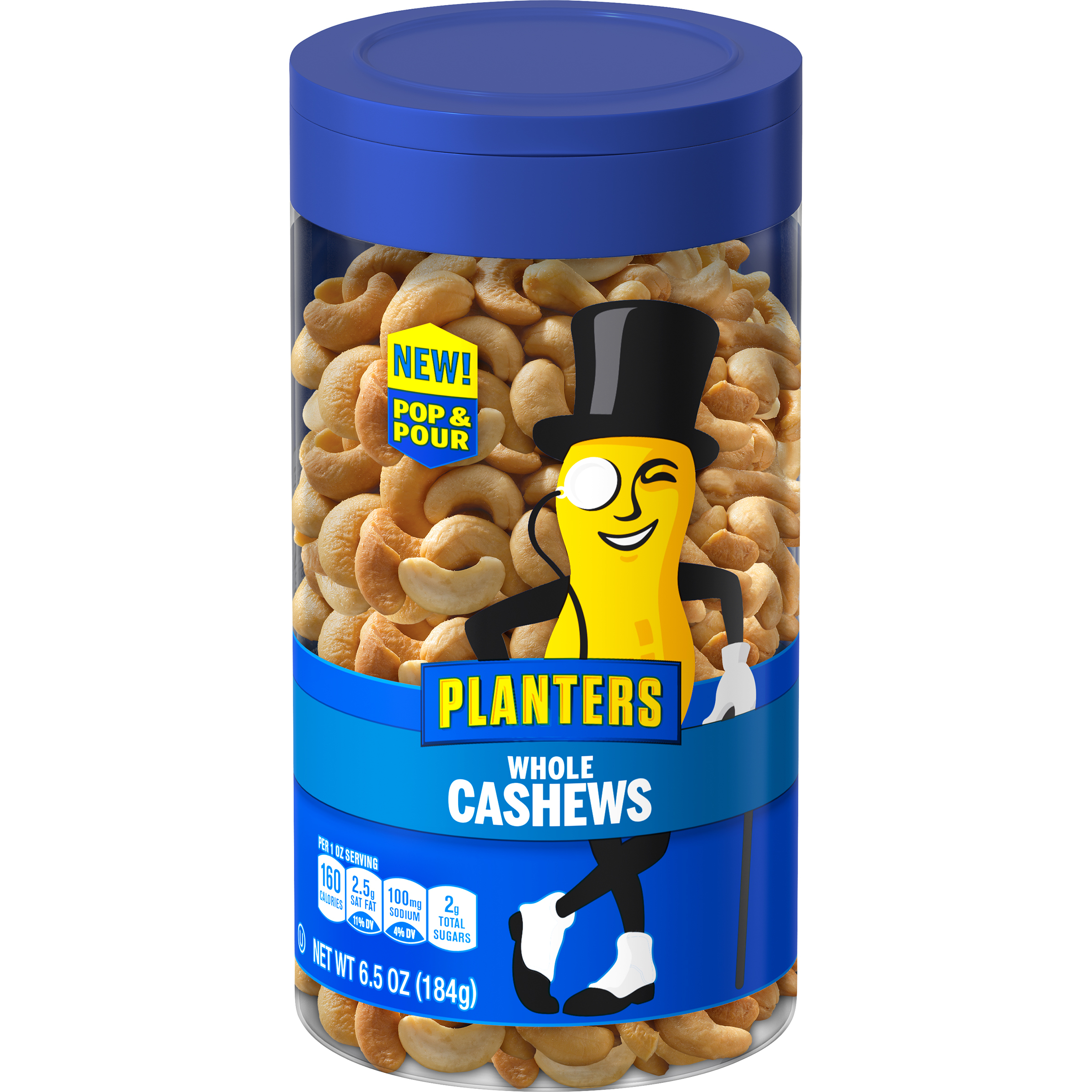 PLANTERS® Pop & Pour Whole Cashews 6.5 oz jar