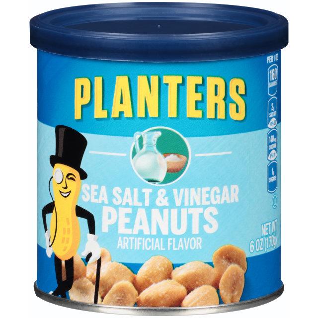 PLANTERS® Sea Salt and Vinegar Peanuts 6 oz can